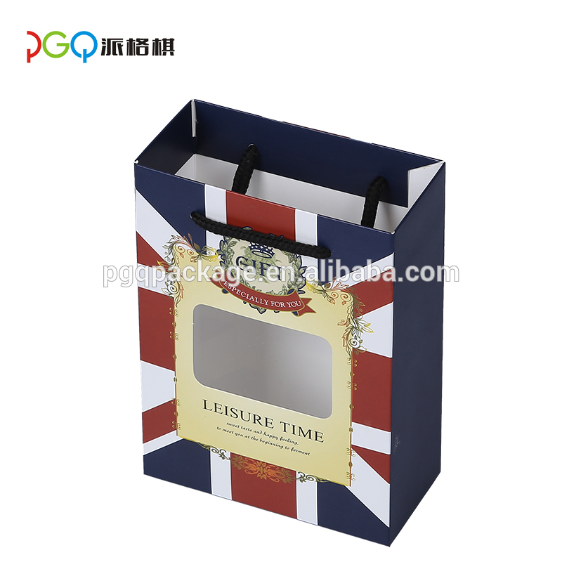 custom raw materials of paper gift packaging bag with logo print